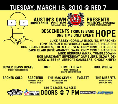 End Sounds' Third Annual Pre-SXSW Music Show/Party - HOPE (Descendents Tribute Band)